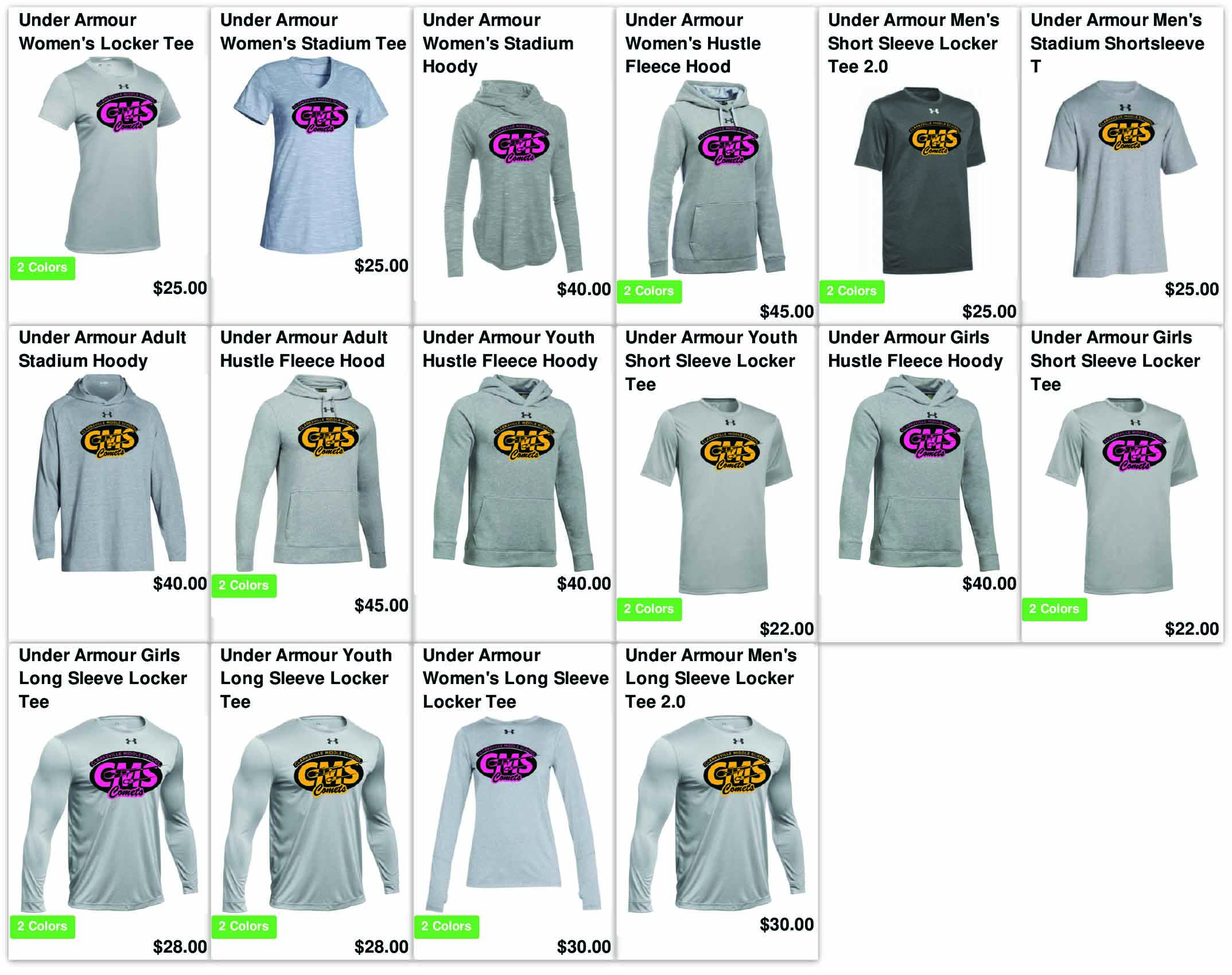 Clarksville Middle Spirit Wear 2018 preview